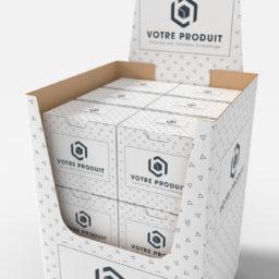 box de présentation tallineau ouvert avec produits